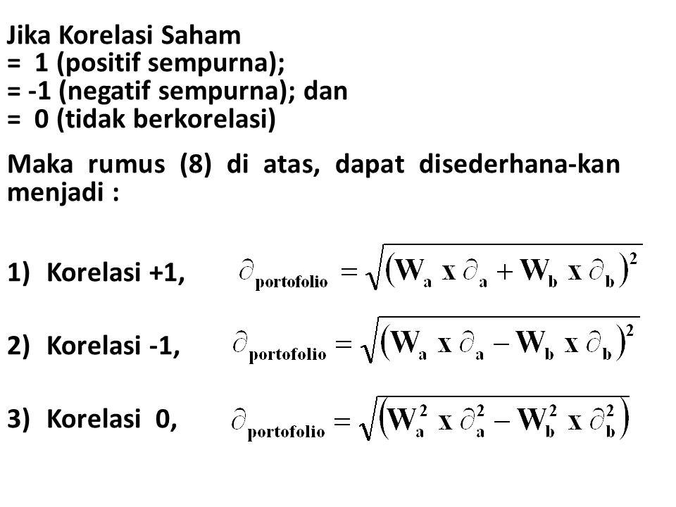 Jika Korelasi Saham = 1 (positif sempurna); = -1 (negatif sempurna); dan. = 0 (tidak berkorelasi)