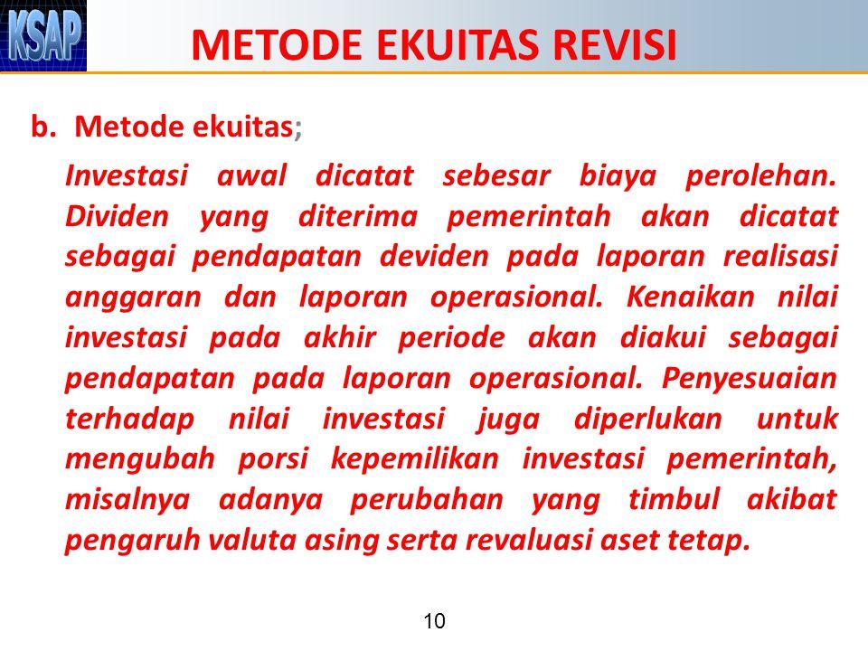 METODE EKUITAS REVISI Metode ekuitas;