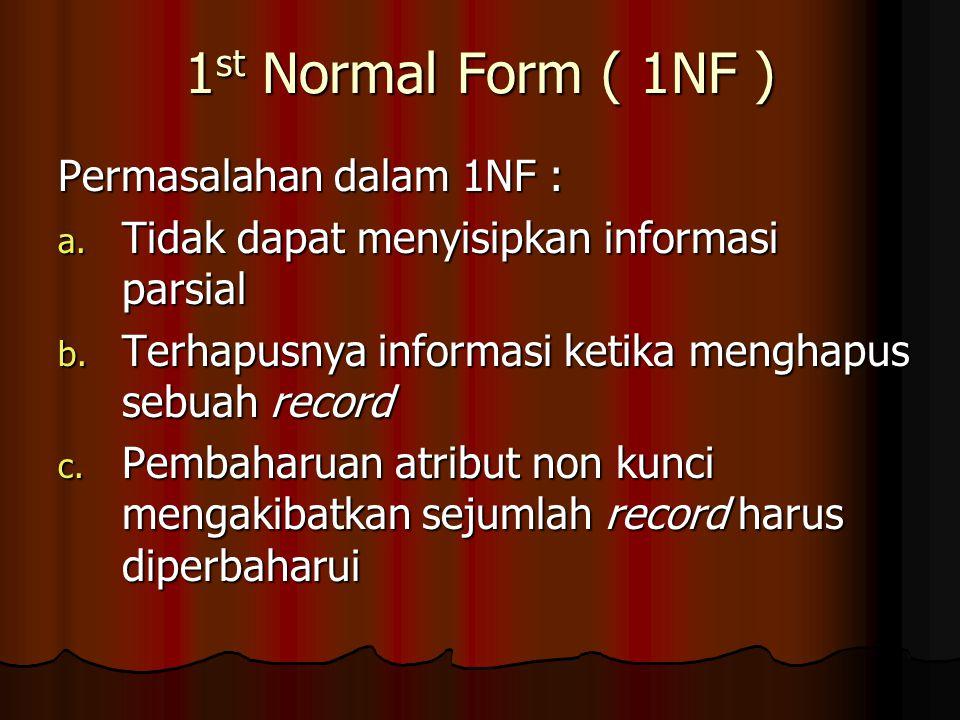 1st Normal Form ( 1NF ) Permasalahan dalam 1NF :