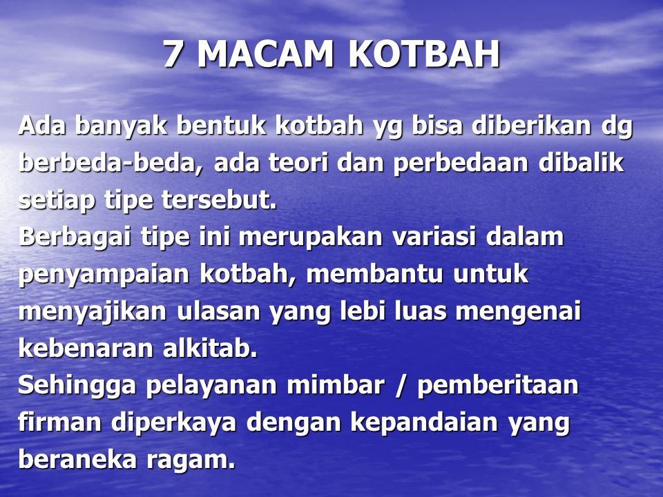 7 MACAM KOTBAH