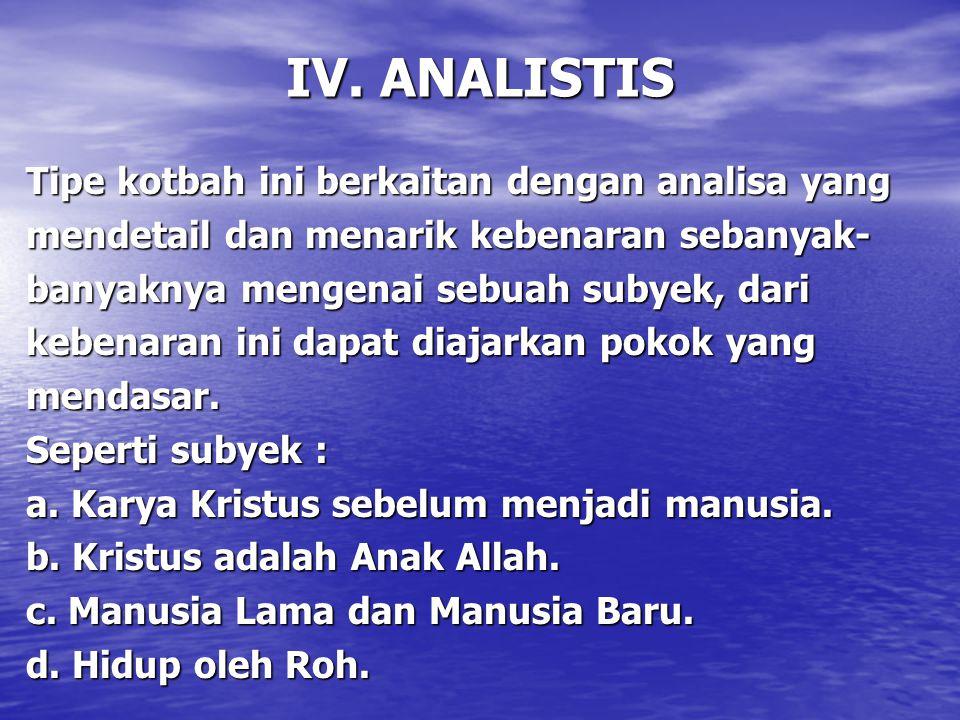 IV. ANALISTIS