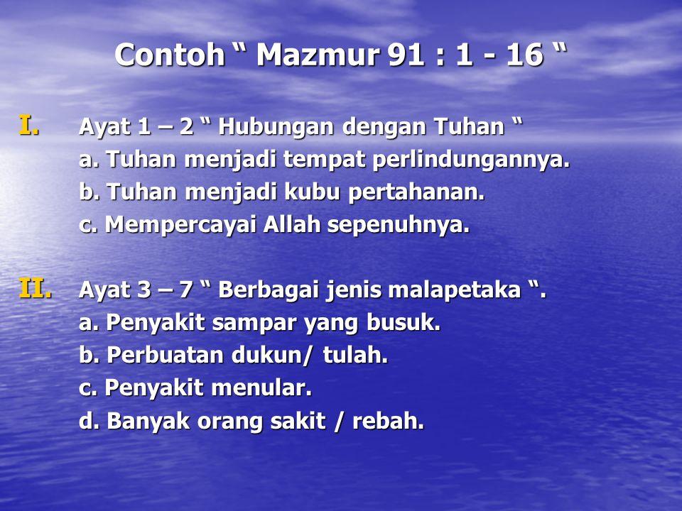 Contoh Mazmur 91 : 1 - 16 Ayat 1 – 2 Hubungan dengan Tuhan