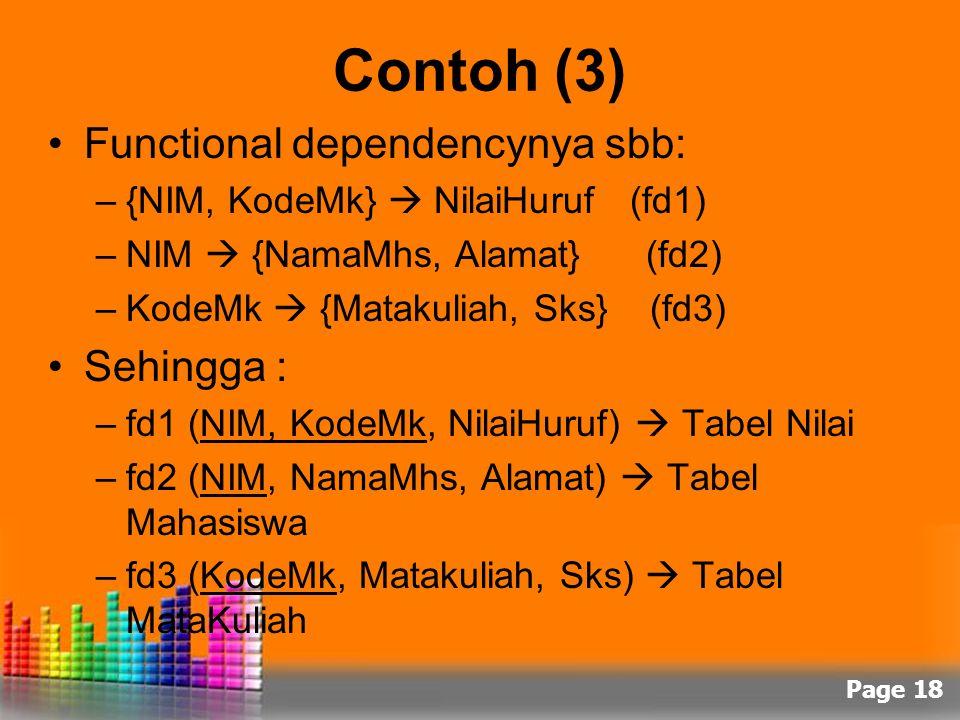 Contoh (3) Functional dependencynya sbb: Sehingga :