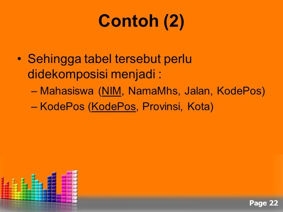 Contoh (2) Sehingga tabel tersebut perlu didekomposisi menjadi :