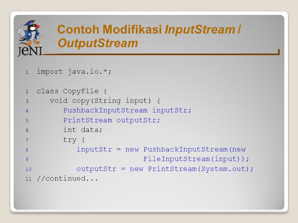Contoh Modifikasi InputStream / OutputStream