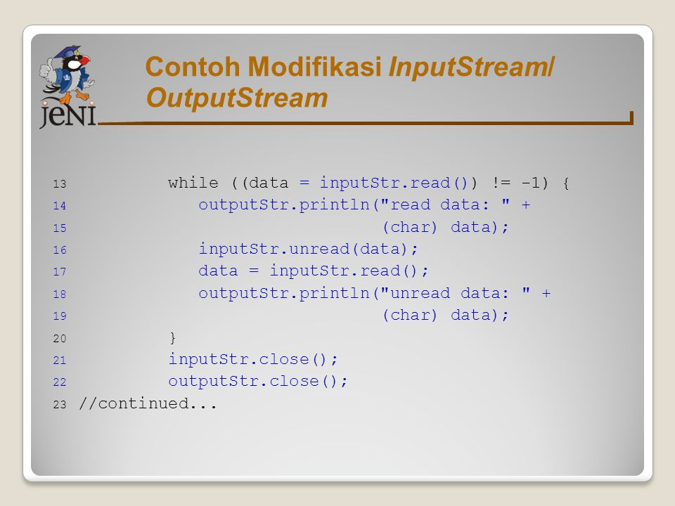 Contoh Modifikasi InputStream/ OutputStream