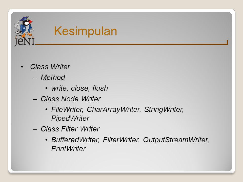 Kesimpulan Class Writer Method write, close, flush Class Node Writer