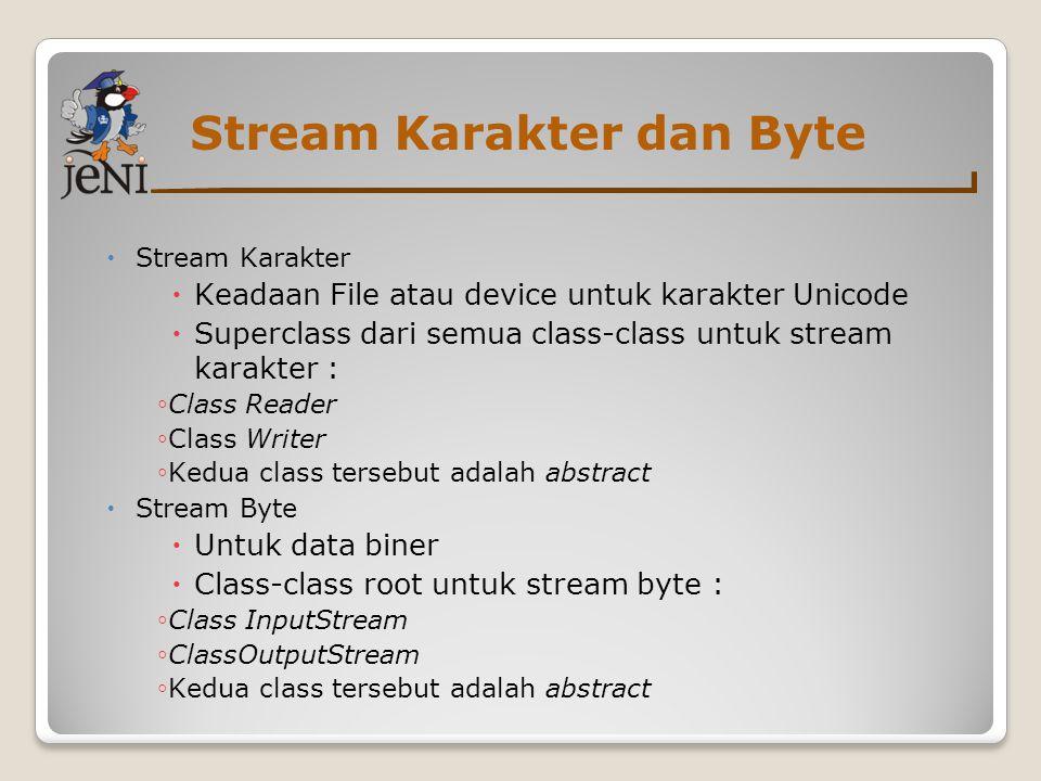 Stream Karakter dan Byte
