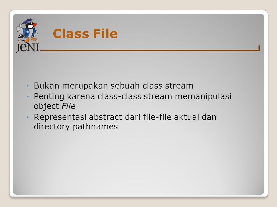 Class File Bukan merupakan sebuah class stream