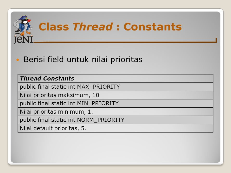 Class Thread : Constants