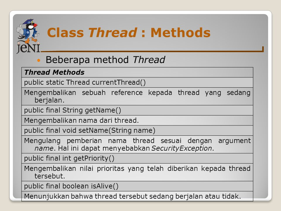 Class Thread : Methods Beberapa method Thread Thread Methods