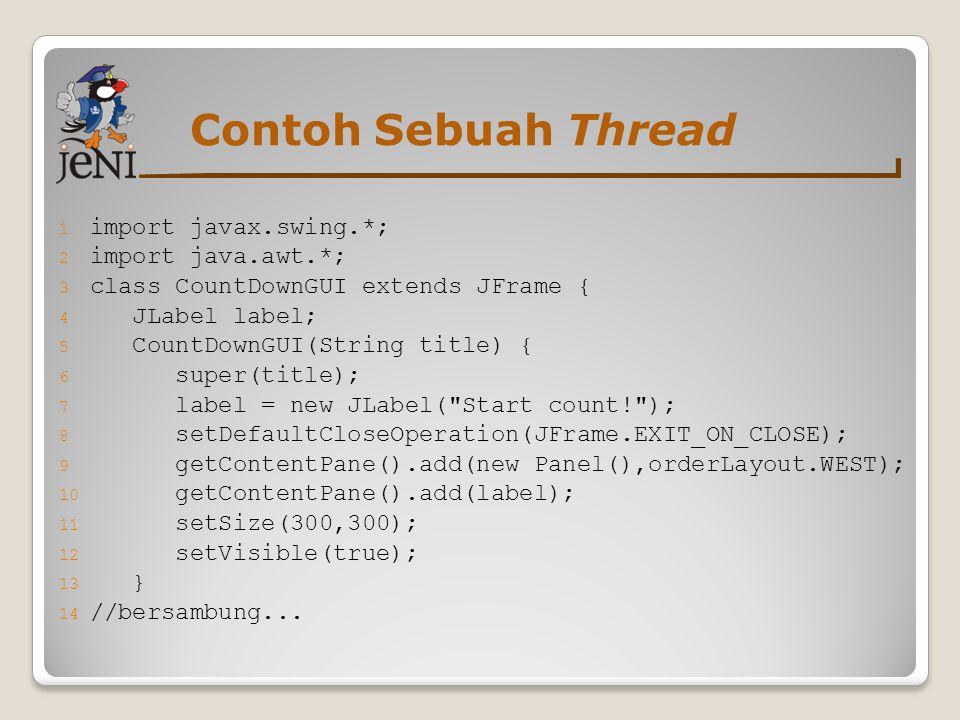 Contoh Sebuah Thread import javax.swing.*; import java.awt.*;
