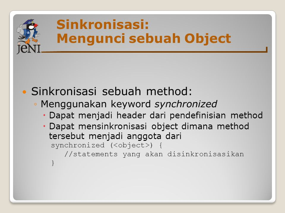 Sinkronisasi: Mengunci sebuah Object