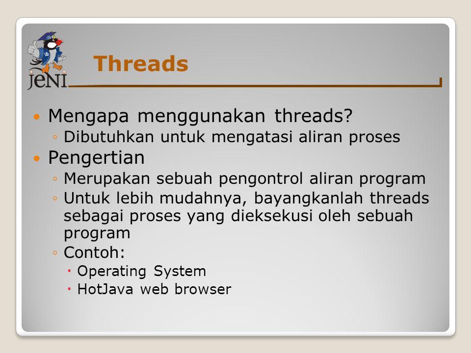 Threads Mengapa menggunakan threads Pengertian