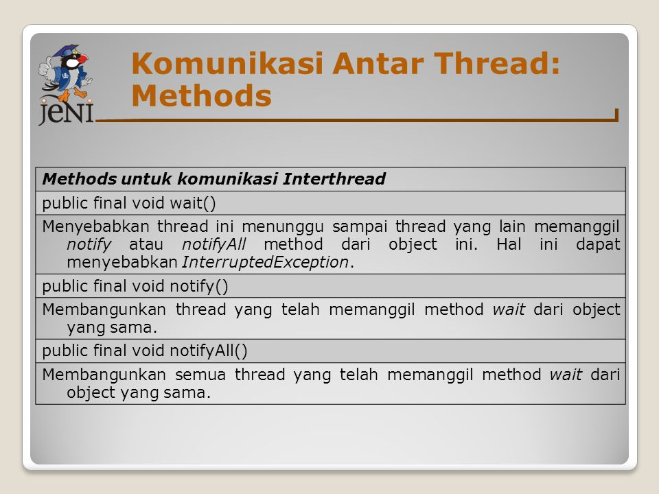 Komunikasi Antar Thread: Methods