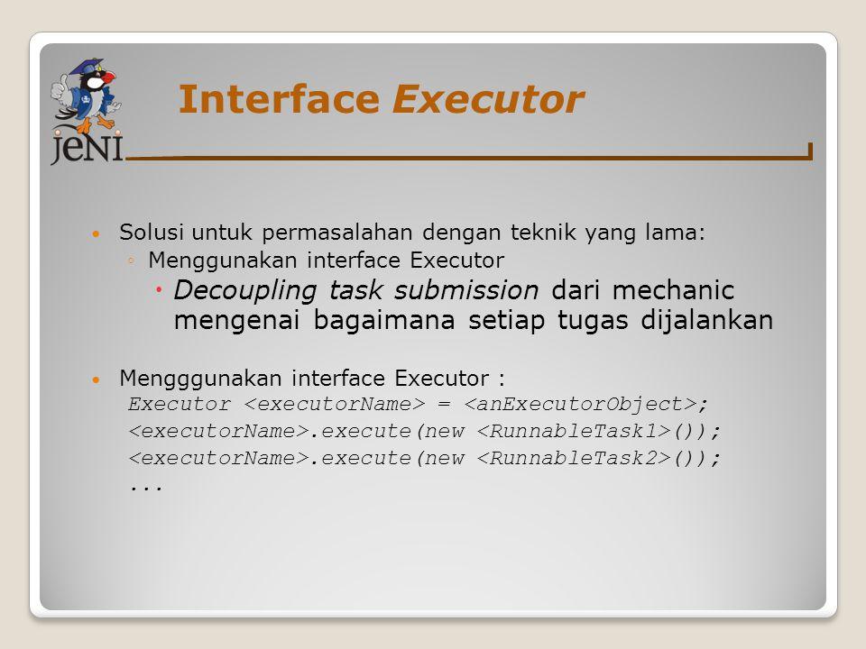 Interface Executor Solusi untuk permasalahan dengan teknik yang lama: Menggunakan interface Executor.