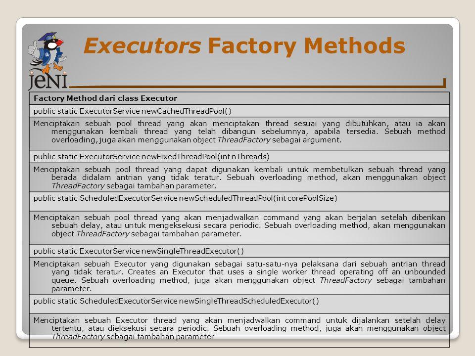 Executors Factory Methods