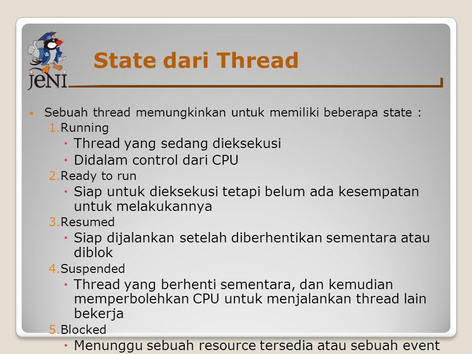 State dari Thread Thread yang sedang dieksekusi