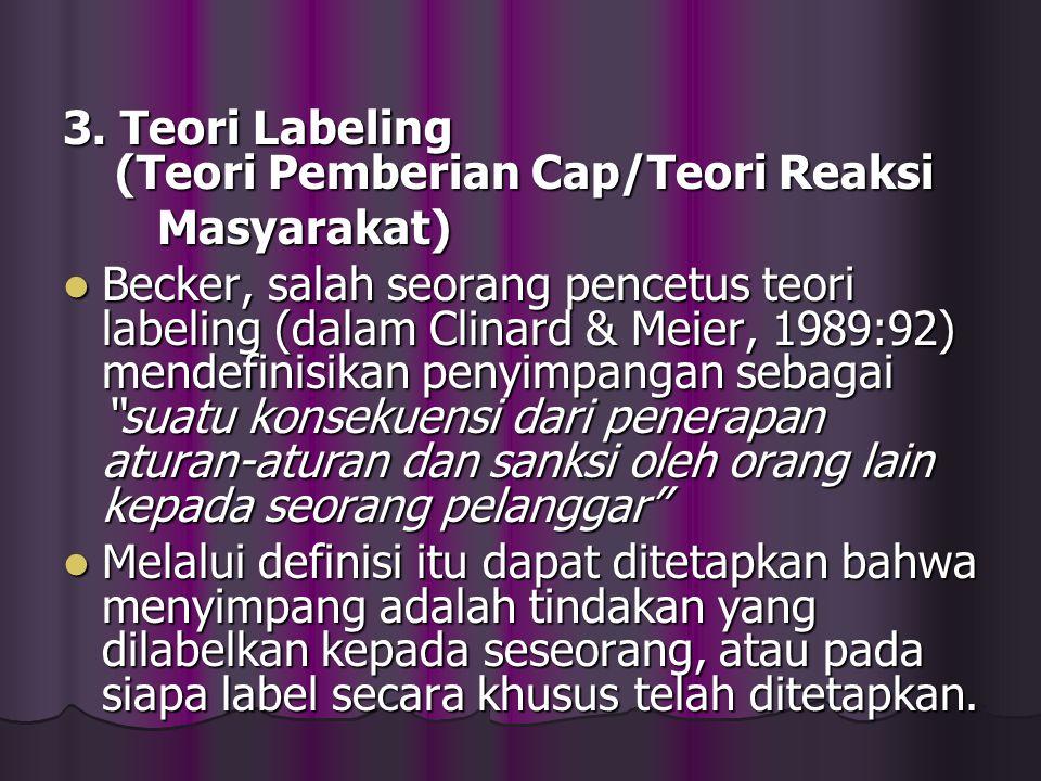 3. Teori Labeling (Teori Pemberian Cap/Teori Reaksi