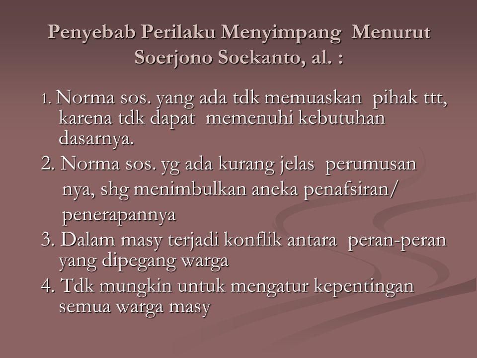 Penyebab Perilaku Menyimpang Menurut Soerjono Soekanto, al. :