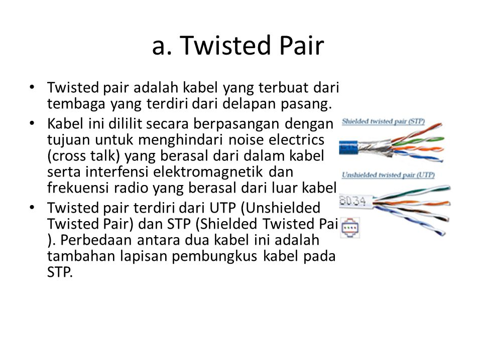 a. Twisted Pair Twisted pair adalah kabel yang terbuat dari tembaga yang terdiri dari delapan pasang.