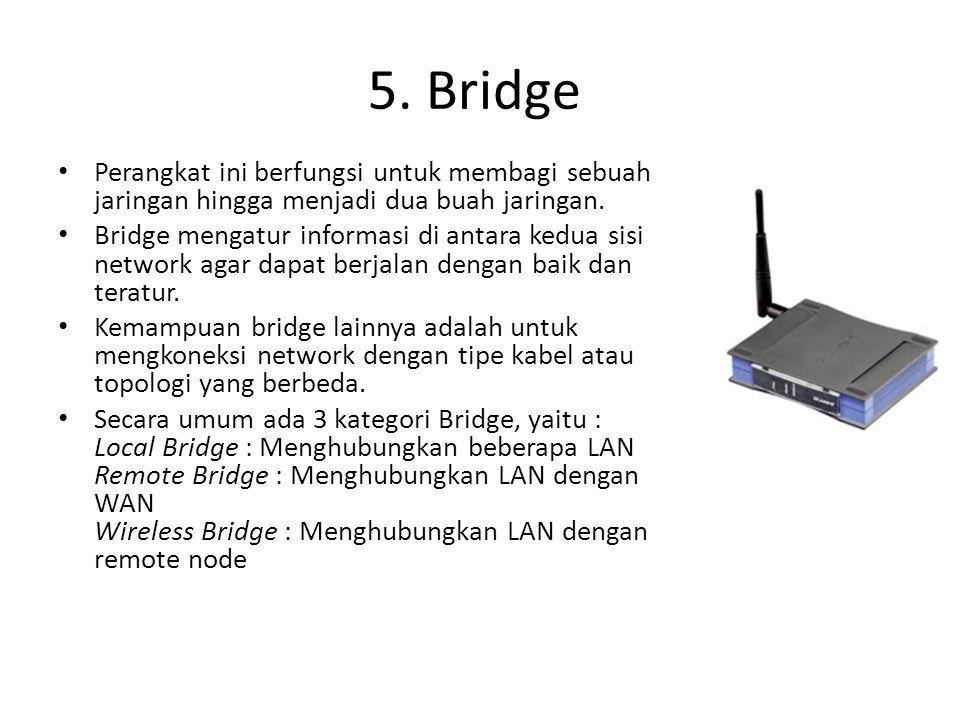 5. Bridge Perangkat ini berfungsi untuk membagi sebuah jaringan hingga menjadi dua buah jaringan.