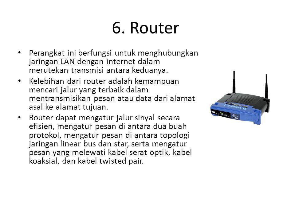 6. Router Perangkat ini berfungsi untuk menghubungkan jaringan LAN dengan internet dalam merutekan transmisi antara keduanya.