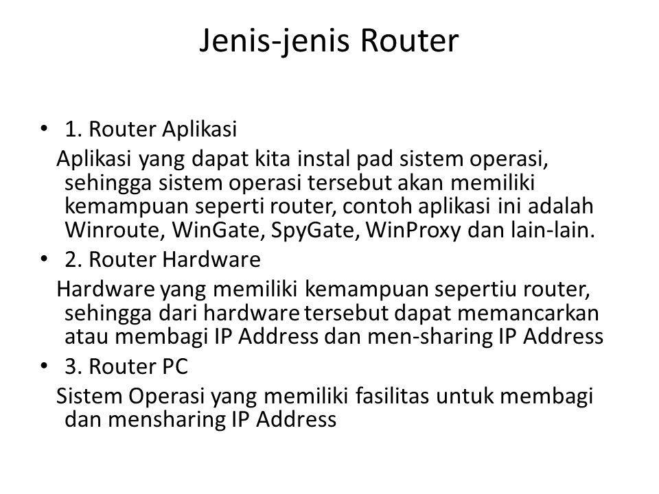 Jenis-jenis Router 1. Router Aplikasi