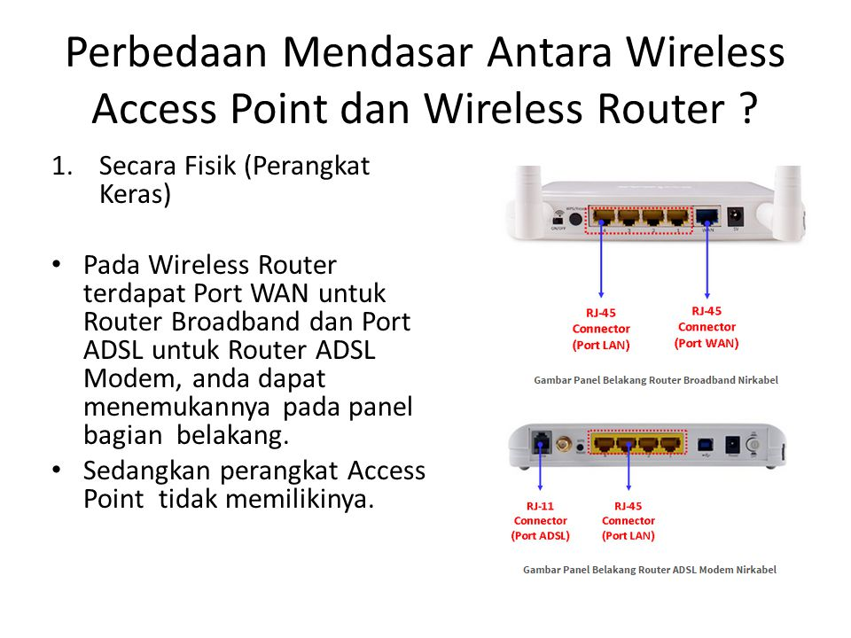 Perbedaan Mendasar Antara Wireless Access Point dan Wireless Router