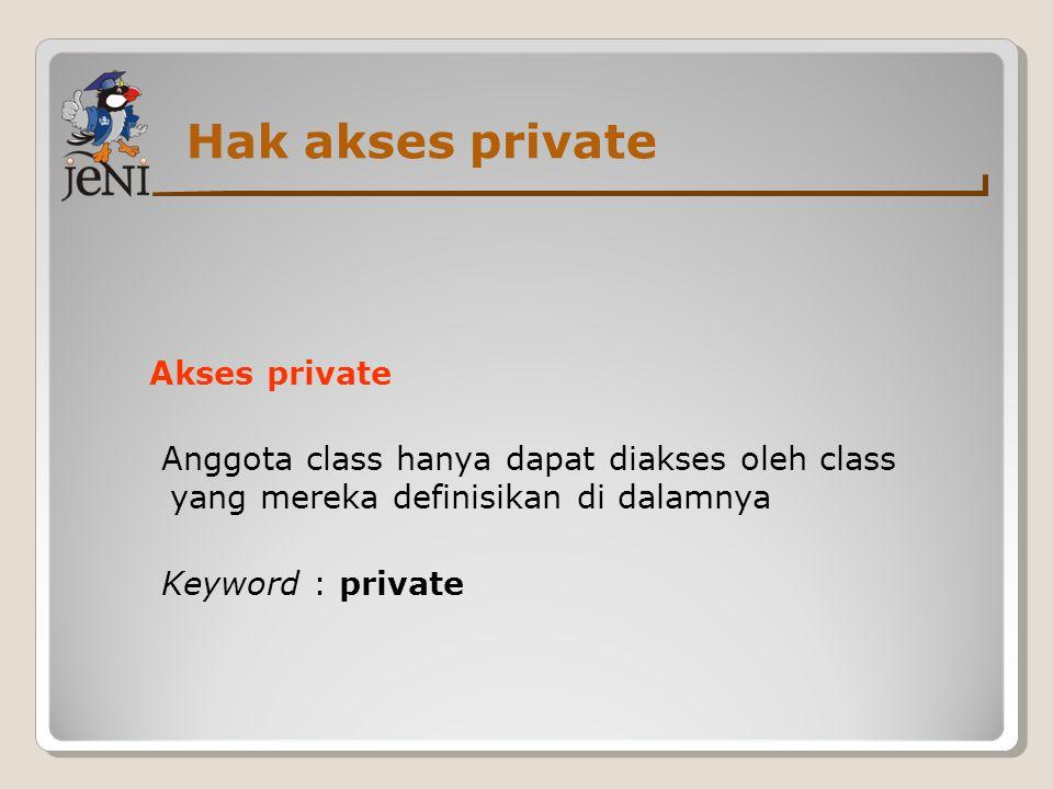 Hak akses private Akses private