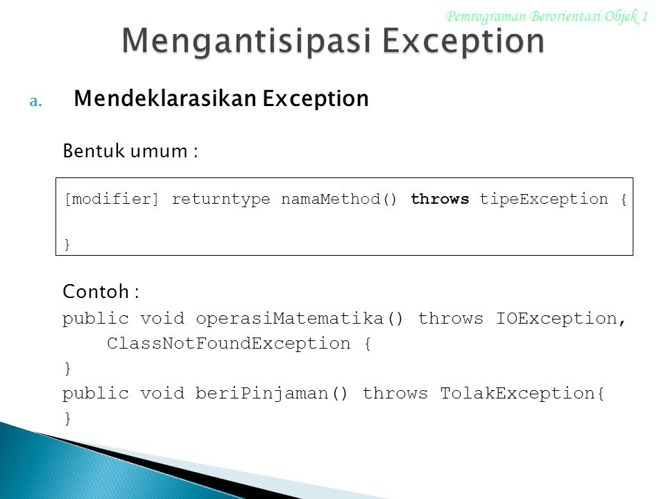 Mengantisipasi Exception