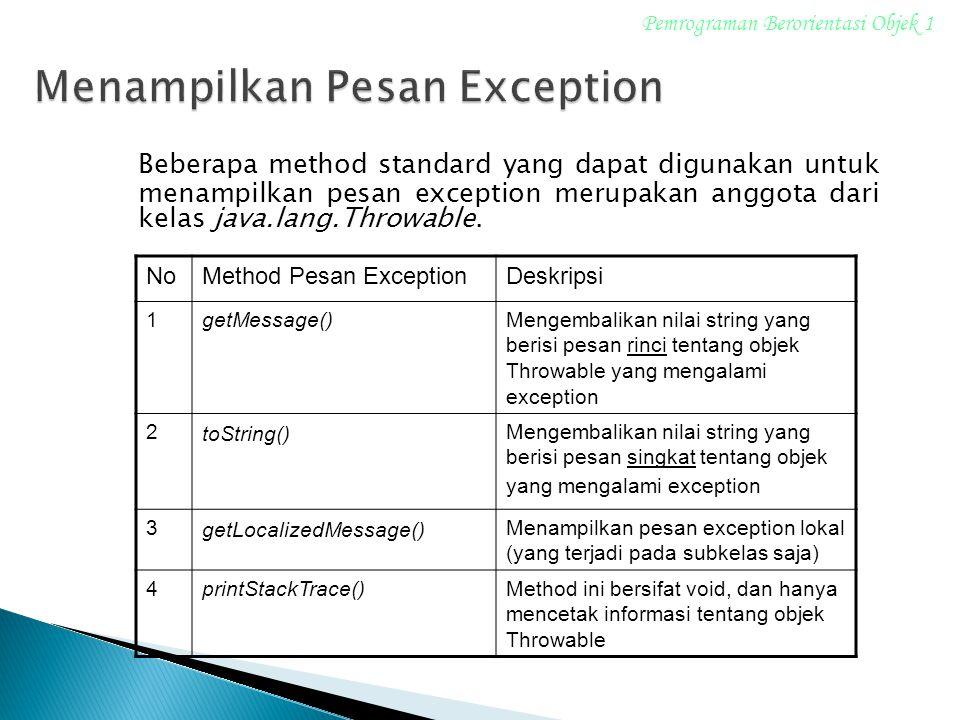 Menampilkan Pesan Exception