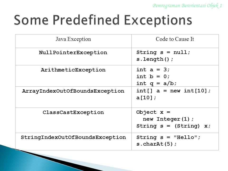 Some Predefined Exceptions