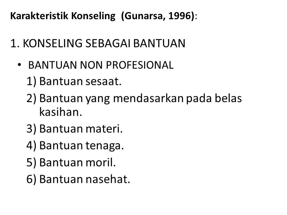 Karakteristik Konseling (Gunarsa, 1996): 1. KONSELING SEBAGAI BANTUAN