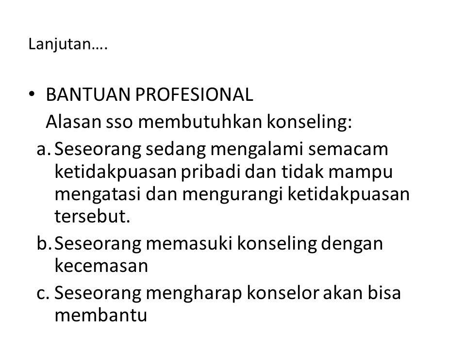 Alasan sso membutuhkan konseling: