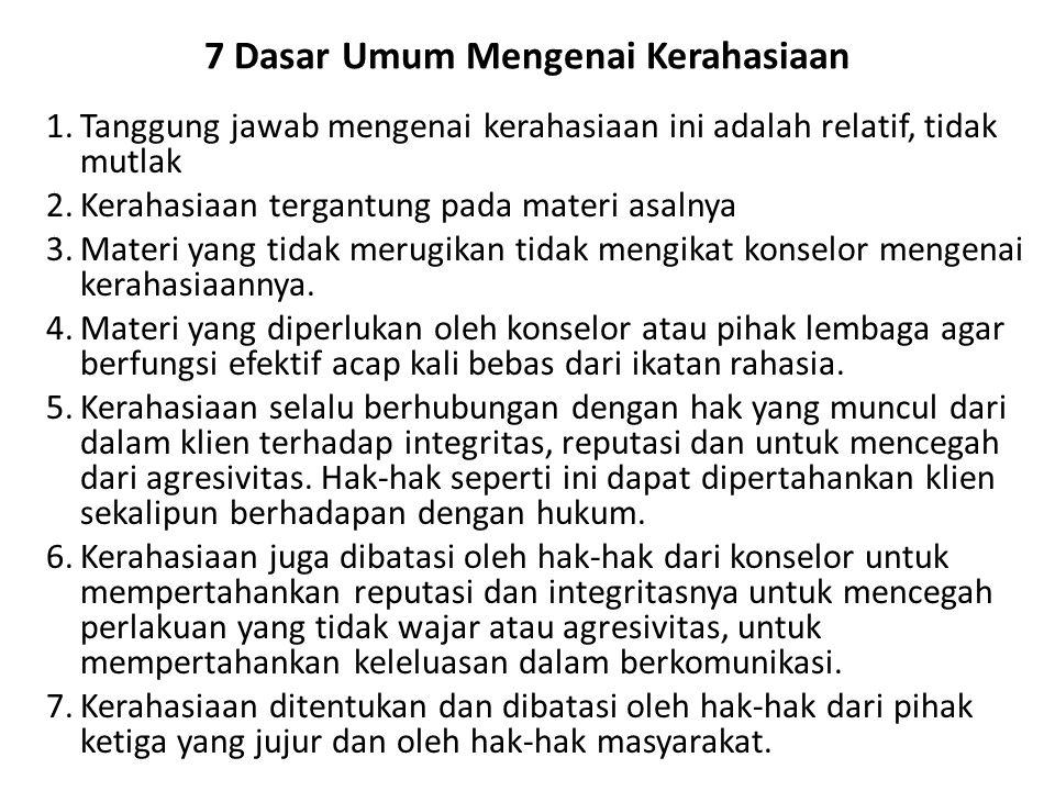 7 Dasar Umum Mengenai Kerahasiaan