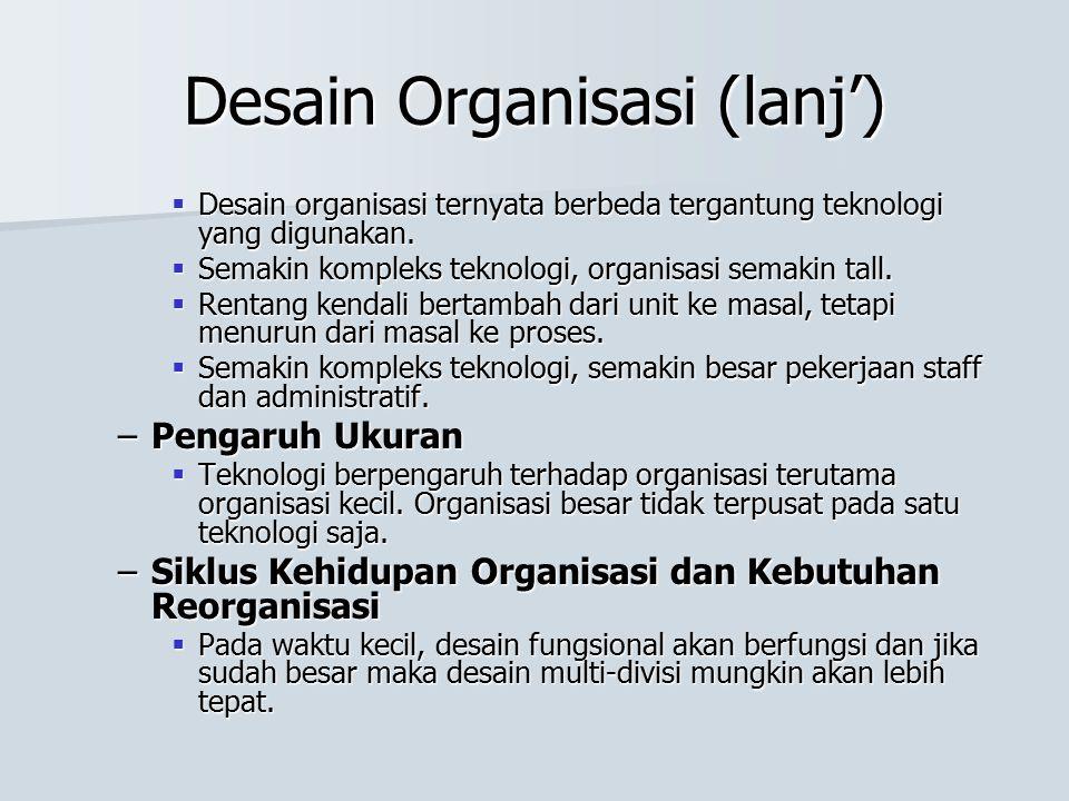 Desain Organisasi (lanj')