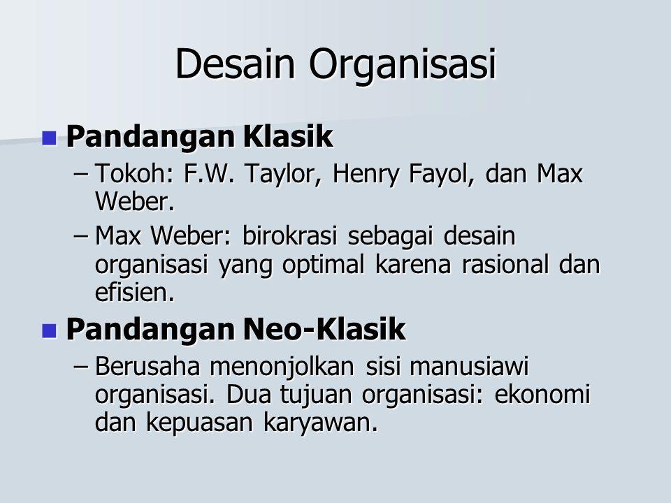 Desain Organisasi Pandangan Klasik Pandangan Neo-Klasik