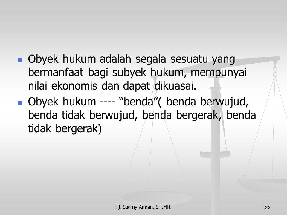Obyek hukum adalah segala sesuatu yang bermanfaat bagi subyek hukum, mempunyai nilai ekonomis dan dapat dikuasai.