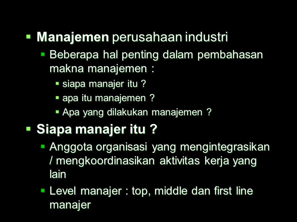 Manajemen perusahaan industri