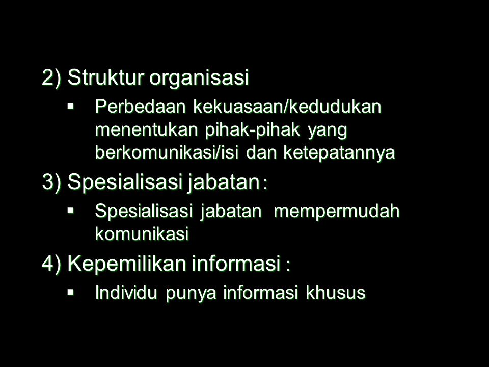 3) Spesialisasi jabatan :