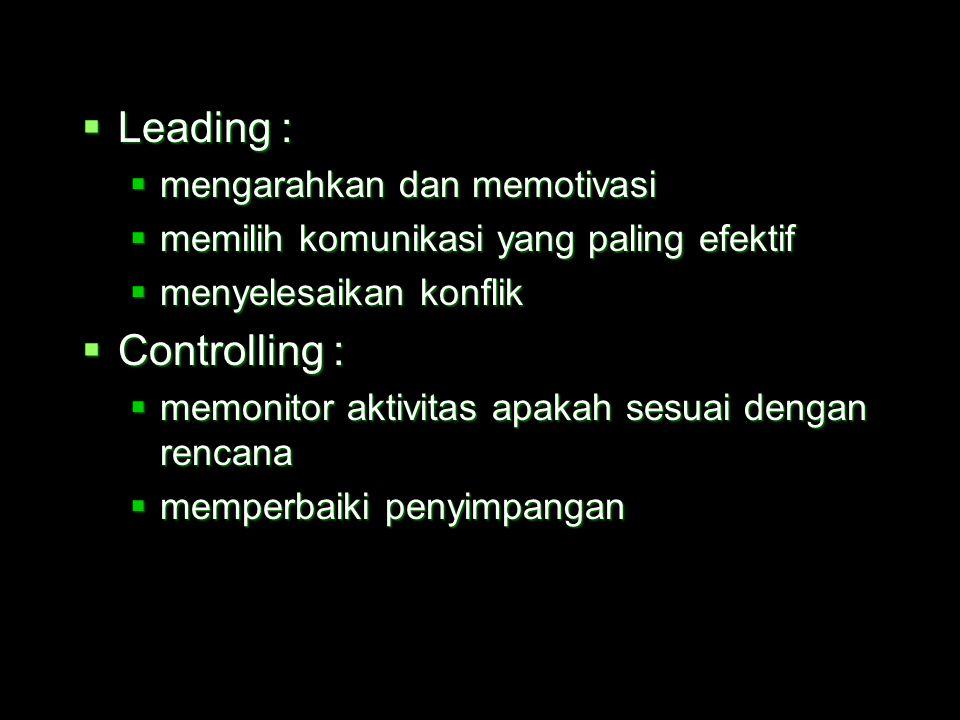 Leading : Controlling : mengarahkan dan memotivasi