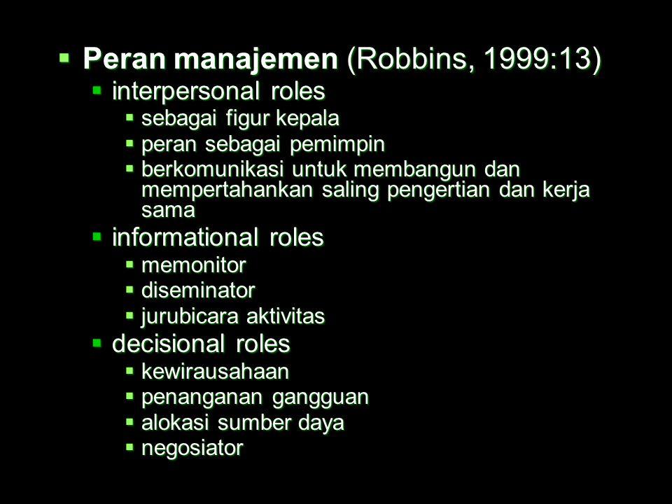 Peran manajemen (Robbins, 1999:13)