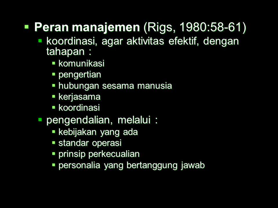 Peran manajemen (Rigs, 1980:58-61)