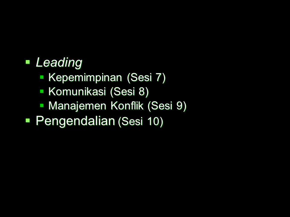 Leading Pengendalian (Sesi 10) Kepemimpinan (Sesi 7)