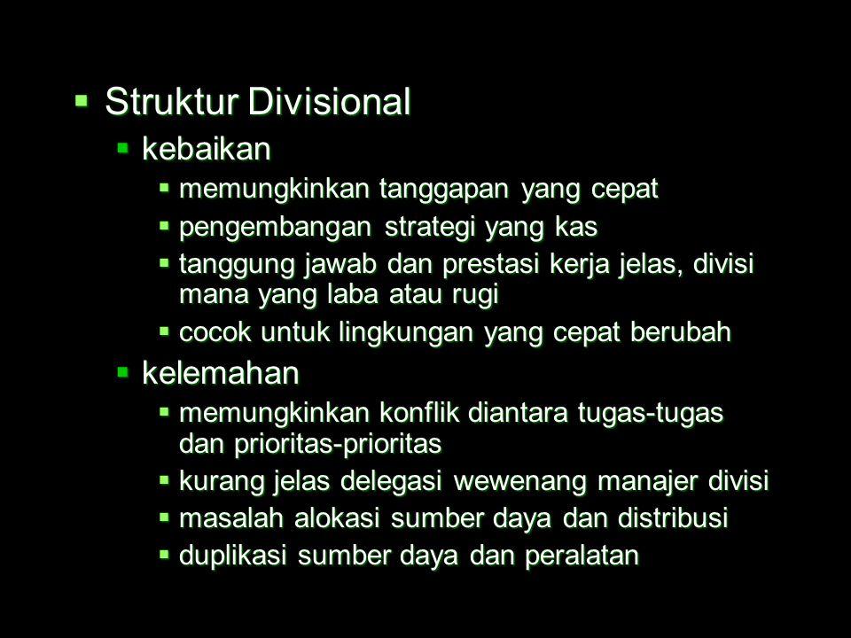 Struktur Divisional kebaikan kelemahan