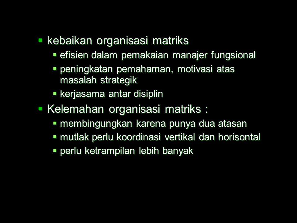 kebaikan organisasi matriks