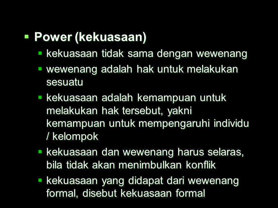 Power (kekuasaan) kekuasaan tidak sama dengan wewenang
