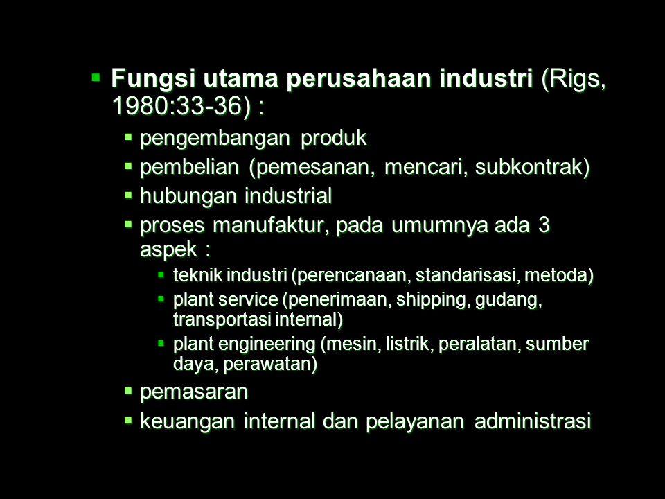 Fungsi utama perusahaan industri (Rigs, 1980:33-36) :