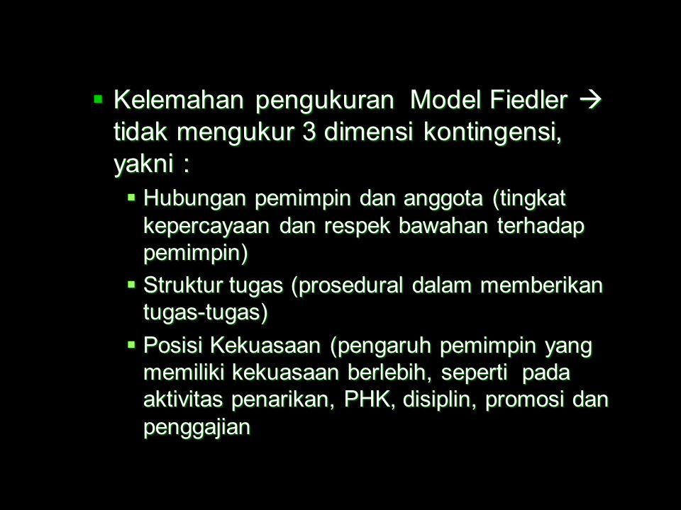 Kelemahan pengukuran Model Fiedler  tidak mengukur 3 dimensi kontingensi, yakni :